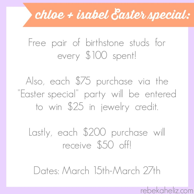 c+i easter special, chloe and isabel, easter special, spring, purple, orange, coral, jewelry, spring jewelry