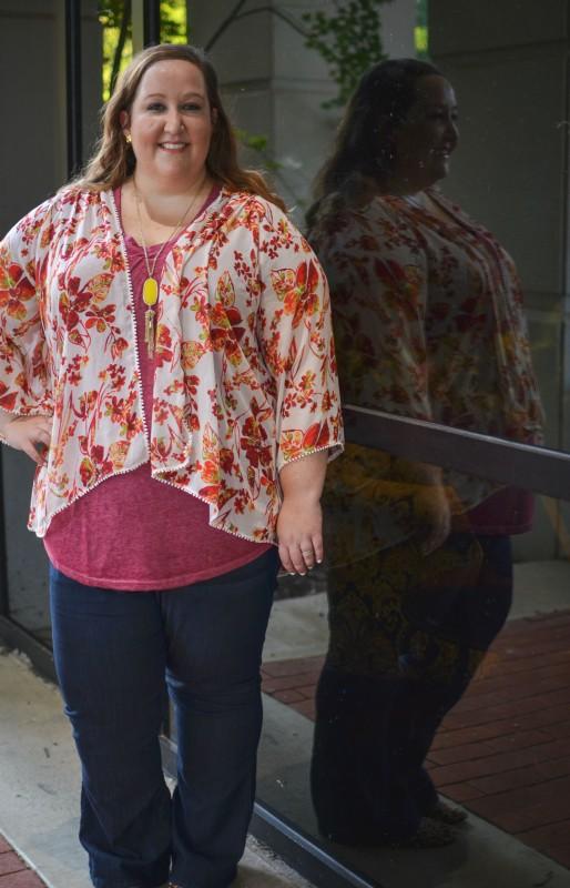 floral kimono, what i wore, plus size fashion, plus size style, rebekaheliz fashion