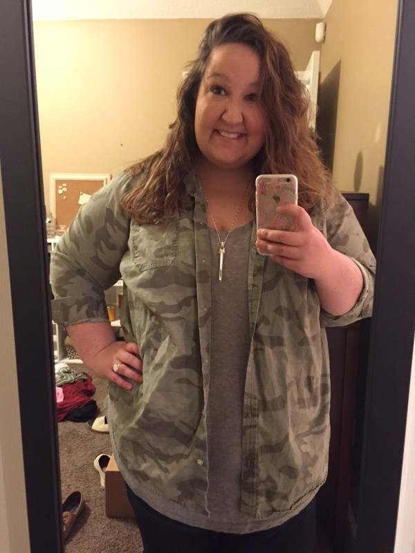 camo shirt, camo styled, camo and gray, gray t shirt, stella and dot