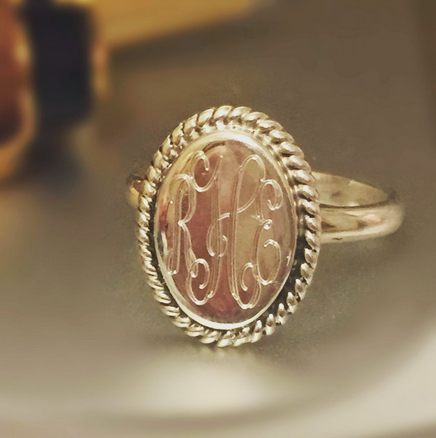 monogram ring, monogram, marley lilly ring, marley lilly