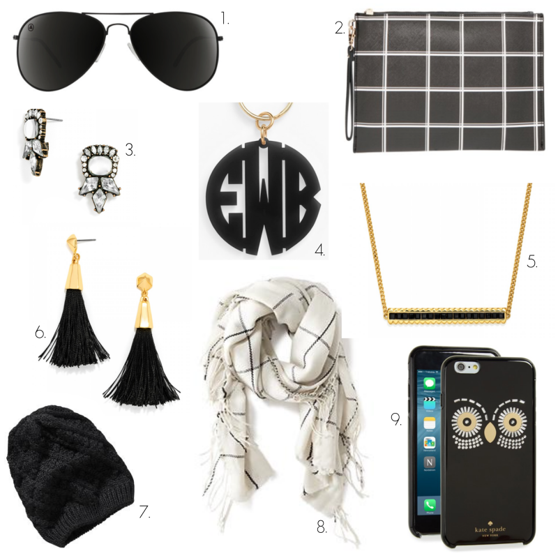 black and white accessories, black, white, blenders eyewear, aviators, monogram
