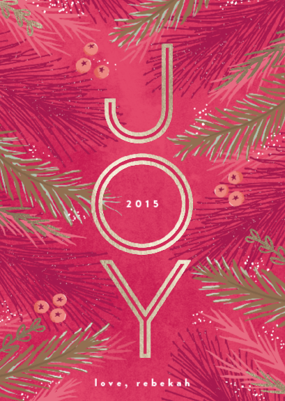 pink, gold, holiday cards, merry christmas, joyful card, minted