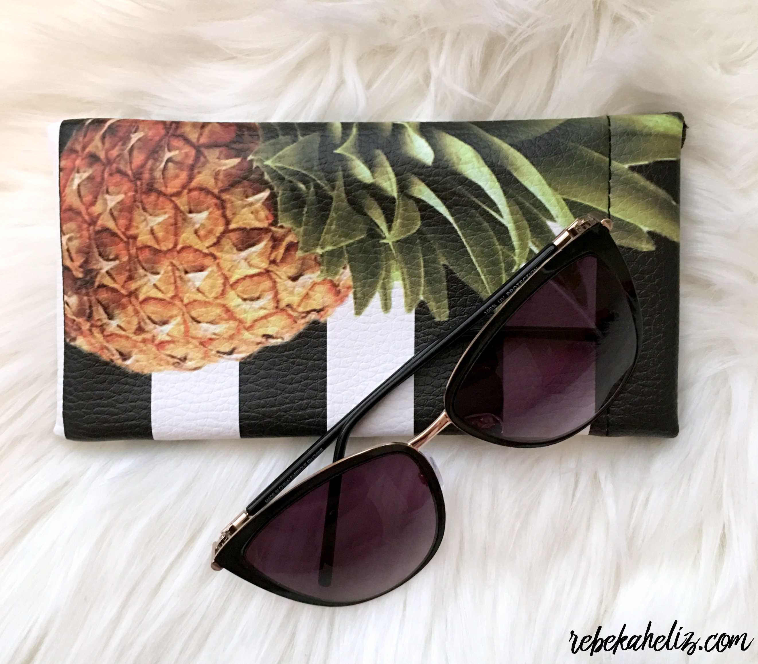 ashley stewart, spring, spring style, style, pineapple, sunglasses