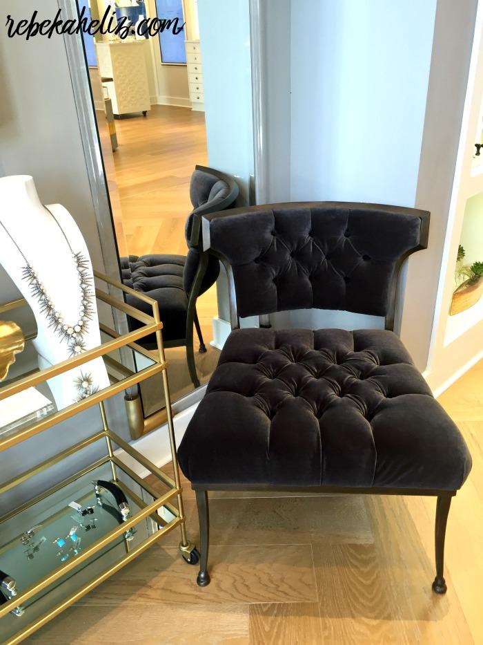 kendra scott nola, new orleans kendra scott, magazine street, jewelry, decor, velvet chair