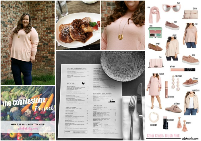 life edit, cobblestone project, blush sweater, st louis eats, blush pink