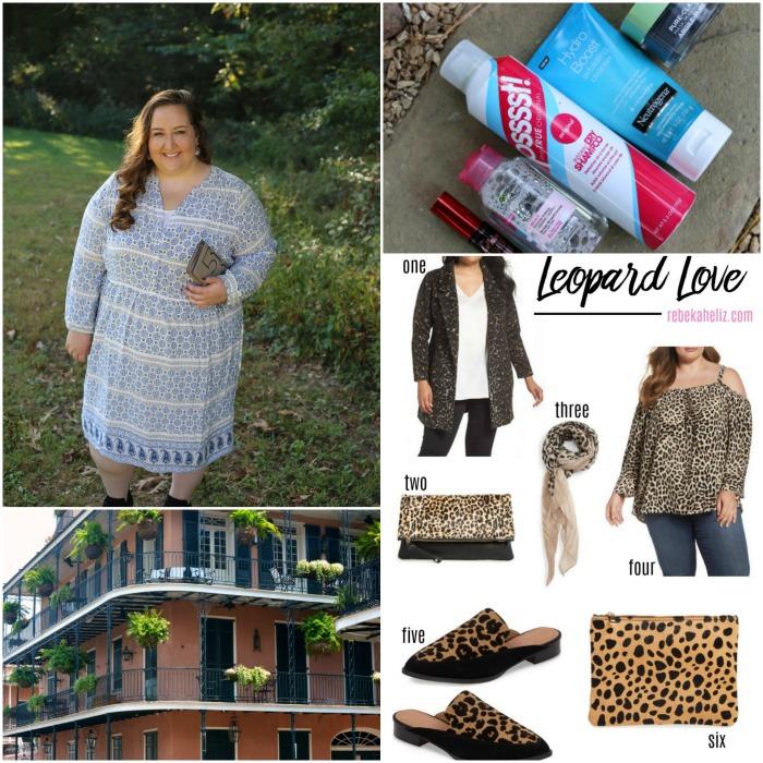 rebekaheliz, blue white dress, drugstore beauty, leopard, new orleans
