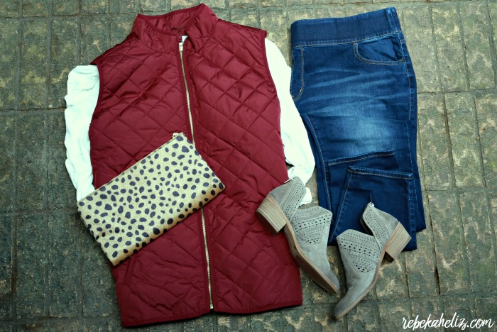 leopard, leopard clutch, brown booties, quilted vest, old navy