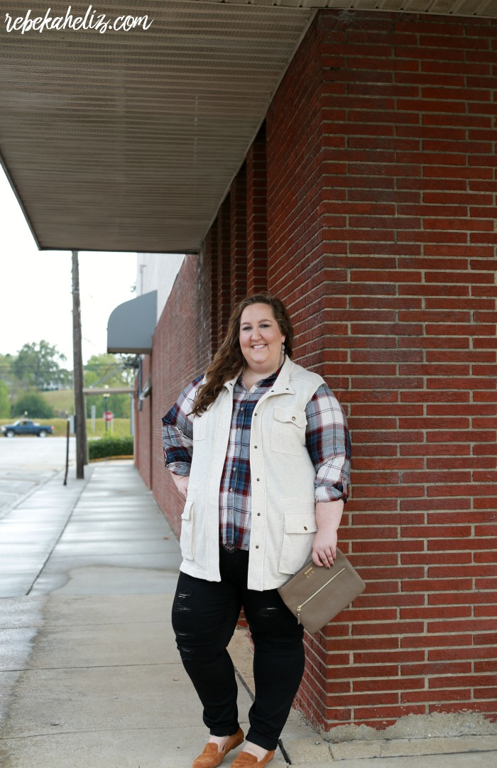plaid shirt, utility vest, fall outfit, ootd, downtown