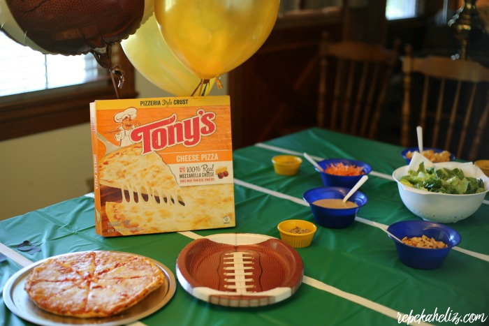 tony's pizza, pizza, cheese pizza, football, football party, caesar salad