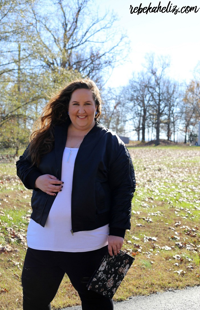 black bomber jacket, ootd, black jeans, fall style, fall, winter style, winter, bomber jacket, floral clutch, black and white, curvy style, plus size, plus size blogger