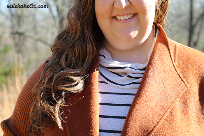 ootd, stripes, orange coat, coat sale, winter, rain jacket