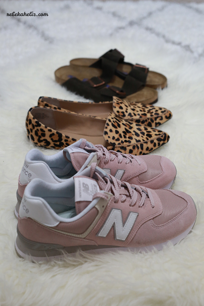 shoes, spring shoes, leopard flats, blush new balance 574, new balance 574, blush tennis shoes, birkenstocks, birkenstock arizona