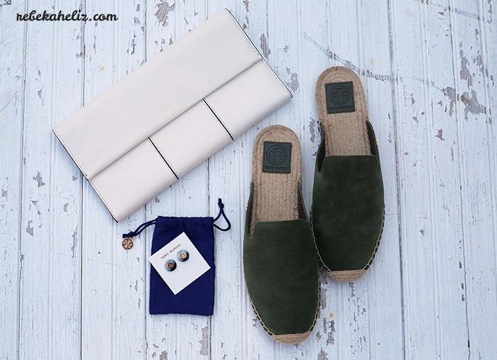 tory burch, spring, spring accessories, olive, white, olive + white