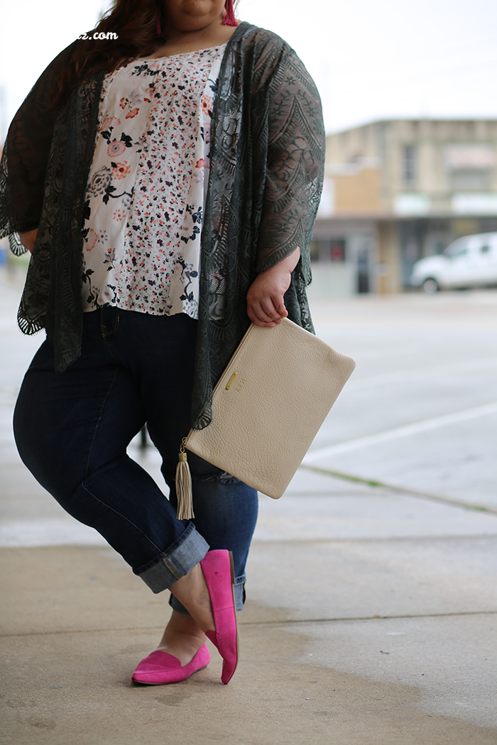 kimono, floral tank, spring, spring style, pink loafers, pink, ootd, wiw, plus size bloggers, plus size fashion, LTKcurves