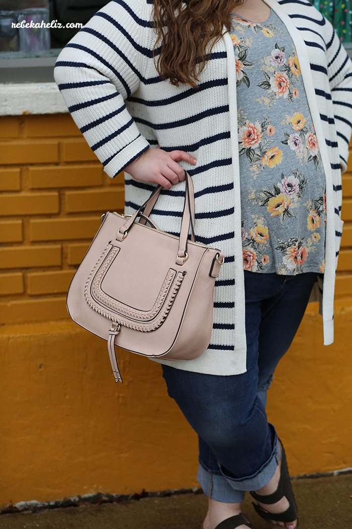 print mixing, stripes, floral, ootd, wiw, plus size style, plus size style, LTKcurves, birkenstocks, old navy style, sole society