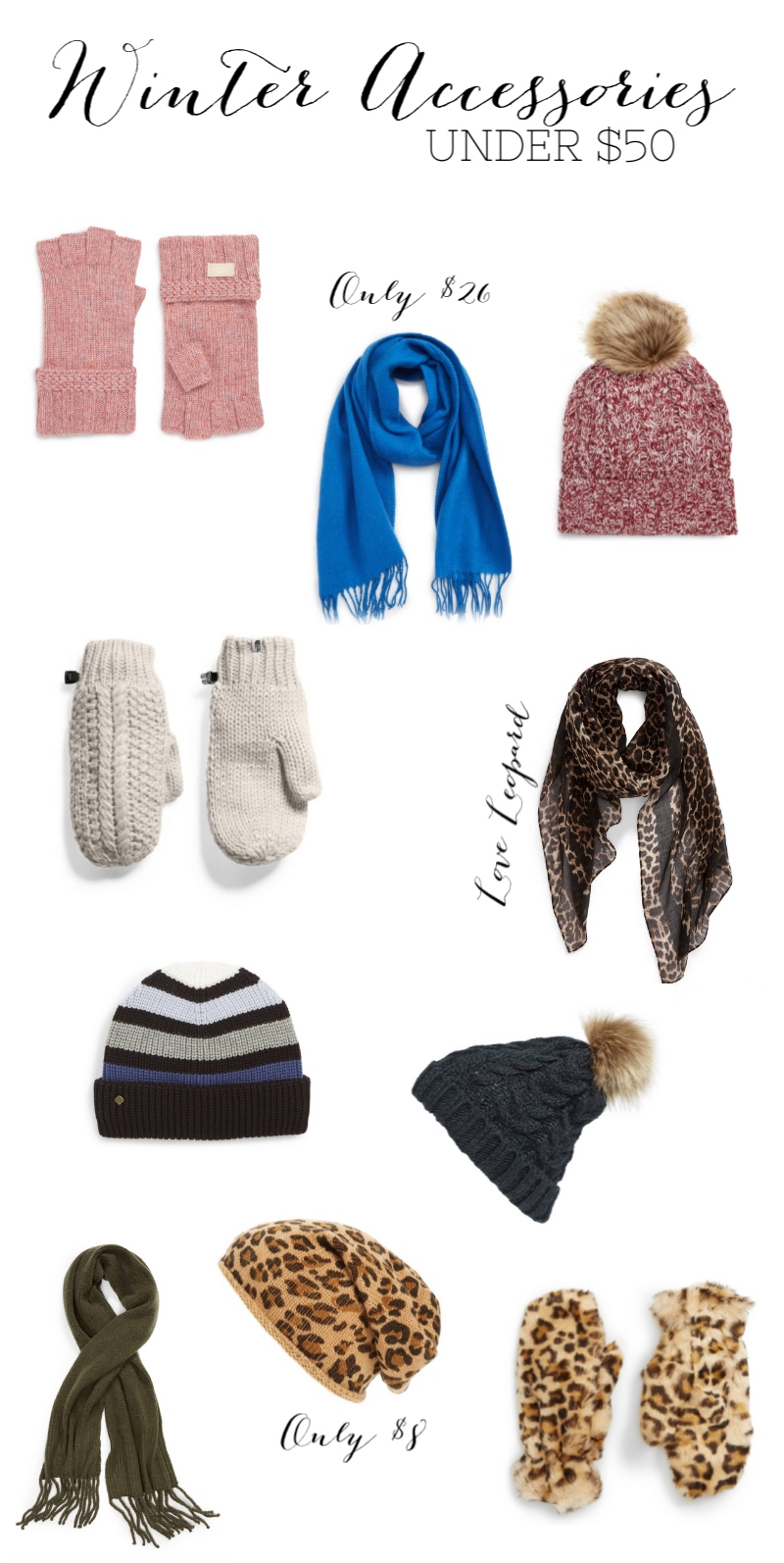 winter, winter accessories, leopard, scarf, mittens, gloves, beanie, pom pom beanie, winter accessories under $50, winter sale
