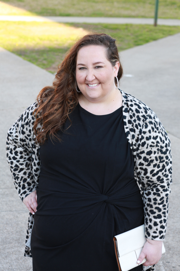 lbd, little black dress, leopard, leopard cardigan, Tory Burch, Uncommon James, spring, spring style, curvy style, plus size fashion, #rebekahelizstyle